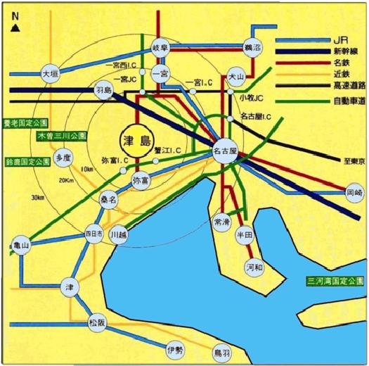 津島への交通機関