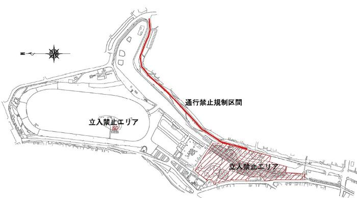 天王川公園立入禁止エリア及び通行禁止規制区間図